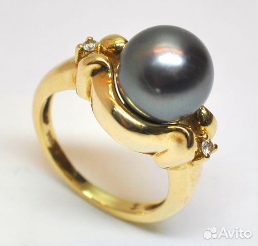 Кольцо с черным жемчугом фото