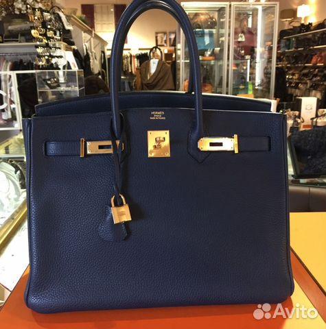 974bc6d5ea4b Сумка Биркин Гермес Синяя Hermes Togo Birkin 35 купить в Москве на ...
