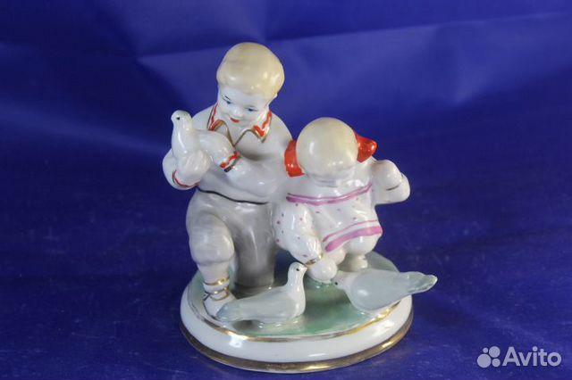 Фарфор статуэтка Дети и голуби Старый Киев Глобус 89203149703 купить 2