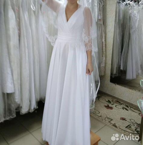 Белоснежно-белое свадебное платье