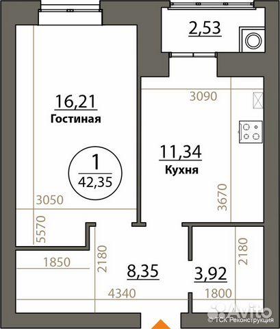 1-к квартира, 42.4 м², 4/10 эт.  84912407413 купить 1