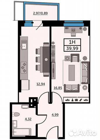 1-к квартира, 39.9 м², 14/25 эт. купить 1