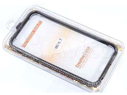 Бампер для iPhone 6\6S (4.7) мет diamond черный