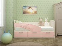 Кровать детская Дельфин розовый 1.6 м