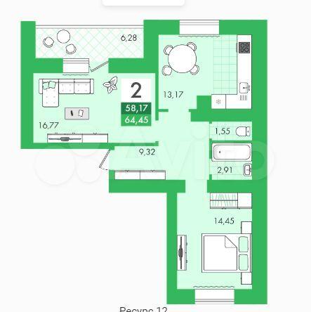 2-к квартира, 64.5 м², 9/10 эт.